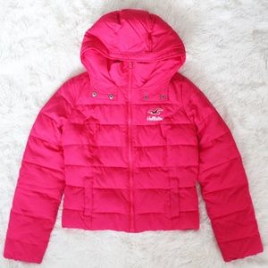 Hollister Sherpa Lined Pink Puffer Coat w/Hood